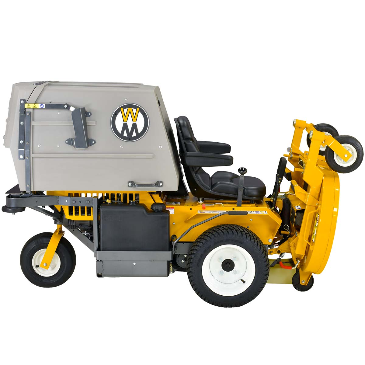 Walker Mower MC19 with deck in service position - easily change blades