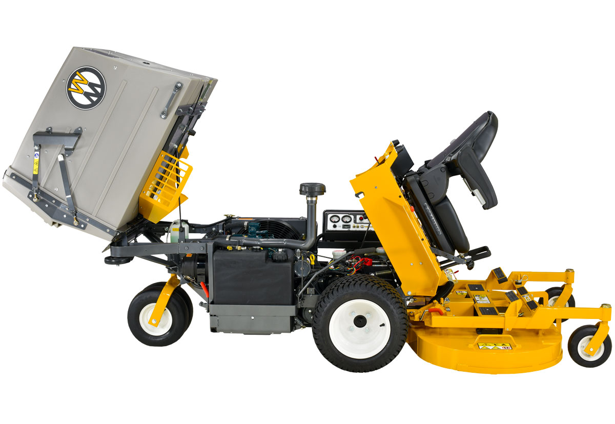 Walker Diesel mower with body tilted for easy maintenance and cleaning