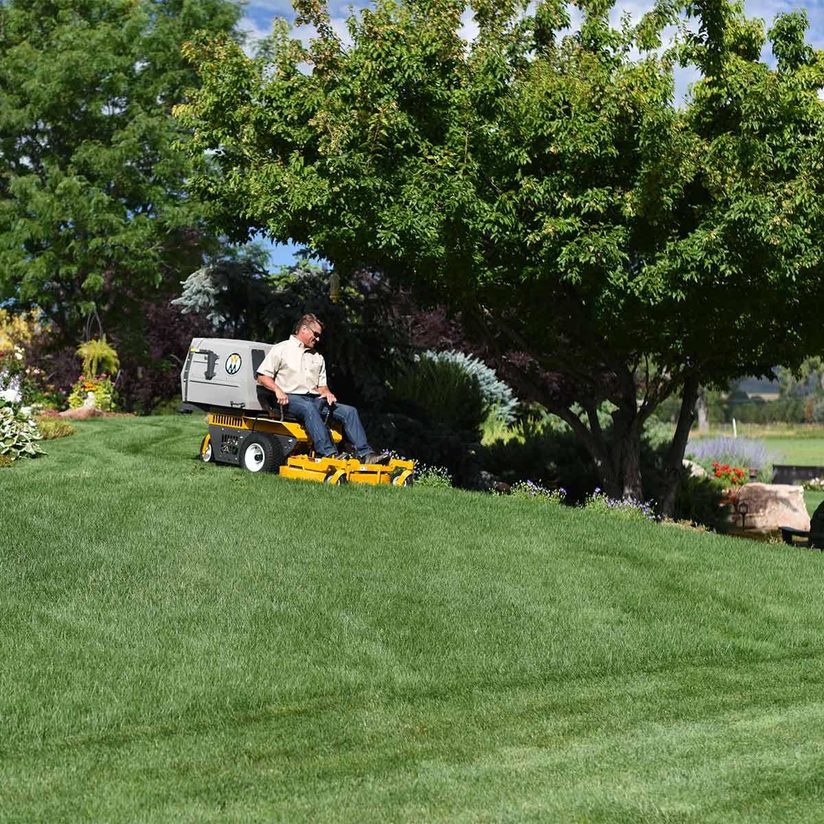 Walker MS mowing lawn