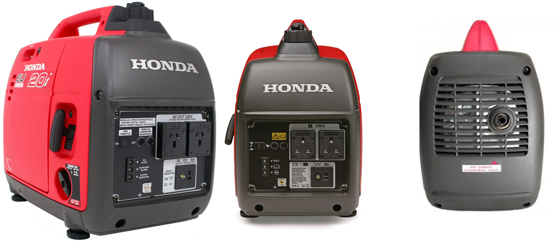 Honda EU10i generator - side - rear and front elevation
