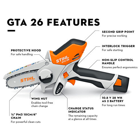 Stihl Battery GTA 26 Garden Pruner - detail features