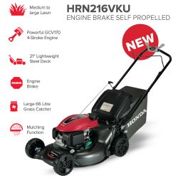 "21"" Honda HRN216VKU Engine Brake Self Propelled Mower"