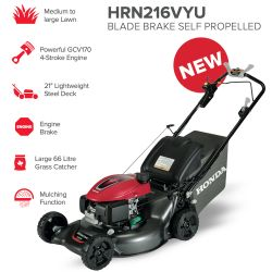 "21"" Honda HRN216VKU Blade Brake Self Propelled Mower"